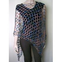 Poncho Irregular Artesanal Crochet Hilo Seda Mujer Primavera