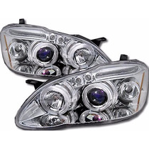 Farol Angel Eyes Led Toyota Corolla 2003 A 2008 + Kit Xênon