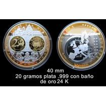 Medalla Irlanda Conmemorativa Del Euro - Oro Y Plata