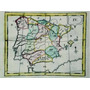 Antiguo Mapa De La Península Iberíca Xviii