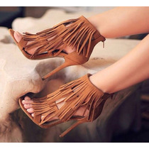 Sandalias Con Flecos Plataformas Mujer Moda Calzado Dama