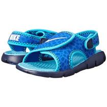Sandalia Nike Infantil Sunray Adjust 4 Kids Azul Com Branco