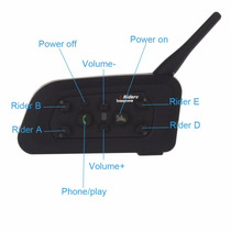 Intercomunicador Bluetooth Casco 1200mts 6 Riders New Model