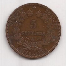 Francia Antigua Moneda De Cobre 5 Centimes Año 1892 A !!