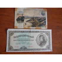 2 Billetes Antiguos100 Millio De Hungria,de Suiza 120 Heller