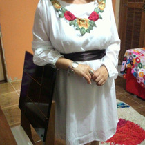 Vestido Chifon Branco Bordado,faixa De Cetim Frete Grátis
