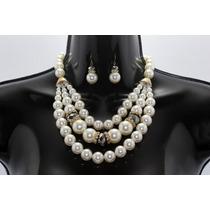 Collar Moda Doble Con Esferas Blanco, Pedrería Y Aretes
