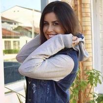 Jaqueta Jeans Feminina Mangas De Moleton