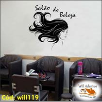 Adesivo Decorativo Salão De Beleza Cabelo Mulher Will119