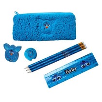 Kit Escolar Infantil Furby 7pçs Estojo Plush Reguá Borracha