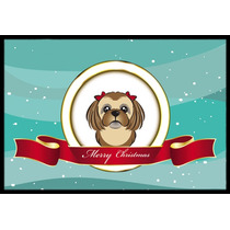 Marrón Chocolate Shih Tzu Feliz Navidad Mat Interiores O Ex