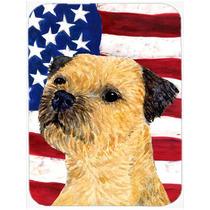Bandera Americana Con Ee.uu. Terrier De Frontera De Cristal