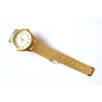 Relógio Feminino Pulseira Dourada Metal Lindo Barato