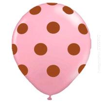 50 Unidades Balão Bexiga Decorada Nº10 Rosa Bola Marrom Poa