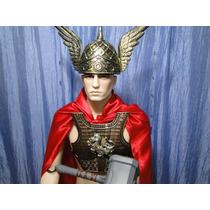 Fantasia Thor Adulto Capa Vermelha Capacete Martelo Armadura