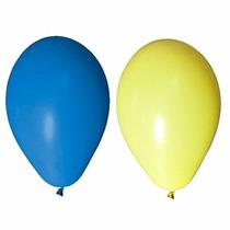 Balão Art-latex Nº7 Para Festa Azul Escuro E Amarelo 100u.