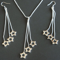 Collar Aretes Largos De Estrellas En Cascada Color Plata