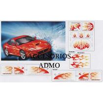 Sticker Calcomania P/ Auto Completo Tuning Flamas Dragones