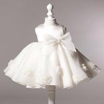 Vestido Elegante Formal Importado Bebe Blanco 13 A 18 Meses