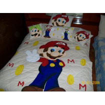 Mario Bross En Colcha Pintada A Mano Individual $2,200.00aa1
