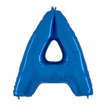Balão Metalizado Letra A Azul Tamanho 40 Aprox 1 M