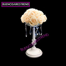 Centro De Mesa De Bonce Blanco Porta Bouquet Arreglo Floral