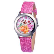Disney Princess Acero Inoxidable Con Pink Glitter Correa De