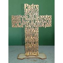 40 Cruces De Mdf Con Oración Padre Nuestro 20 Cms Con Base