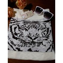 Blusa Suéter Feminina Lã Trico Frio Estampa Coruja Tigre