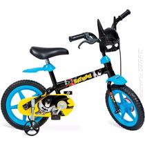 Bicicleta Batman Aro 12 Infantil Menino Rodinhas Bandeirante