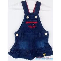 Jardineira Vestido Saia Jeans Com Babados Bebê Menina