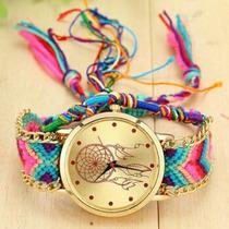 Relógio Feminino Vintage Com Pulseira Artesanal.