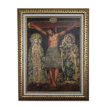 Ideal Regalo Navideño, Oleo Alto Relieve Crucifixión Bello