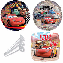 10 Globos Cars + Regalo En Oferta