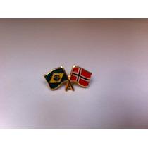Pins Da Bandeira Do Brasil X Noruega