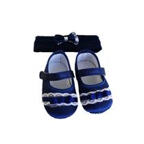 Kit Recem Nascido Sapato Tiara Kit Pimpolho Azul