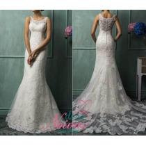 Vestido De Noiva Sereia Rendado Cauda Novo