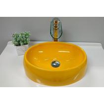 Cuba/pia De Apoio Oval P/ Banheiro Girassol/amarelo - Luzza