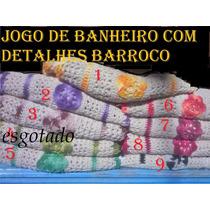 Jogo De Banheiro C/4 Pçs Barbante Cru Com Detalhes Barroco