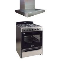 Combo Cocina Acero 60cm + Campana Slim Acero Motor D/turbina
