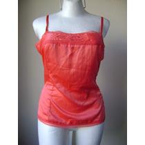Old Navy Top Pijama Color Coral Satinado Talla L!! Bl438