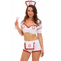 Sexy Disfraz Enfermera Blusa Short Cofia Table Dance Fiesta