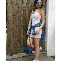 Vestido Gola Rolê Alta Canelado Rosa Bebê E Azul Trend