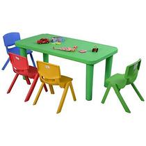Costzon New Kids Mesa De Plástico Y 4 Sillas Conjunto De Col