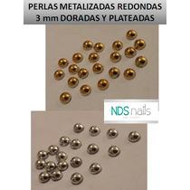 10 Medias Perlas Metalizadas R3 Mm Doradas Y Plateadas