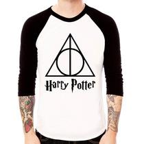 Camisa Blusa Raglan 3/4 Harry Potter Relíquias Da Morte