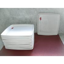 Platos Cuadrados Ceramica X 12 Unidades Diseño Flor Roja