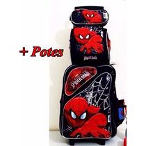 Kit Mochila Rodinhas Homem Aranha Spider Man Promoção