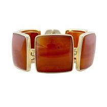 Pulseira Semi - Jóia Bracelete Com Pedras Ágata Vermelha