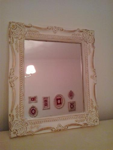 Espejo Marco Estilo Antiguo Frances Blanco Antiguo Con Oro - $ 850 ...